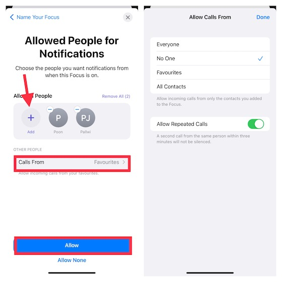 Customize Notifications for Focus Mode in iOS 15