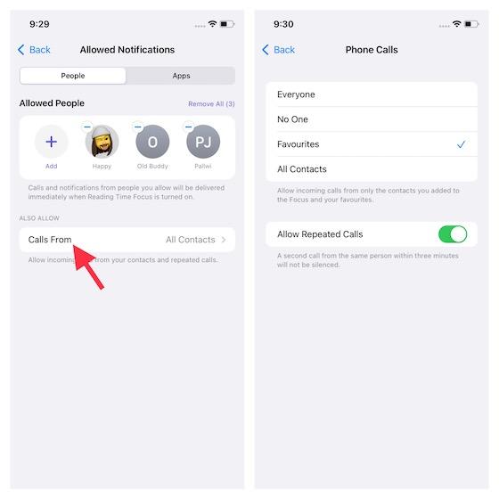 Customize phone calls for Focus mode in iOS 15