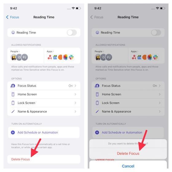 Delete a focus profile on iPhone