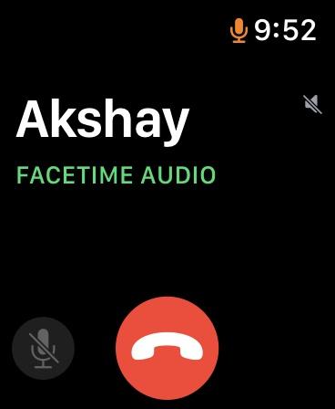 FaceTime Audio Call UI on Apple Watch