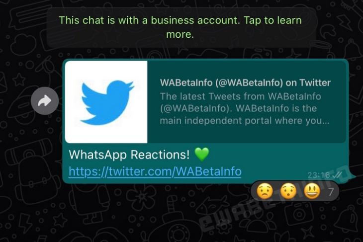 WhatsApp Message Reactions First Look