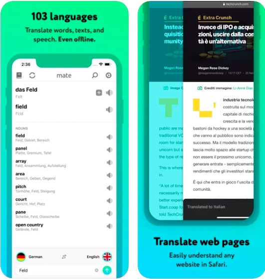 Language Translator by Mate - best Safari Extensions for iPhone