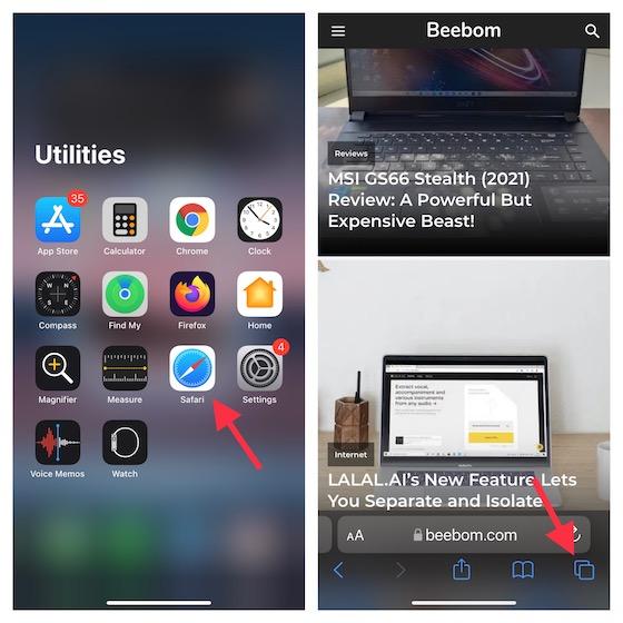 Open Safari app on iOS