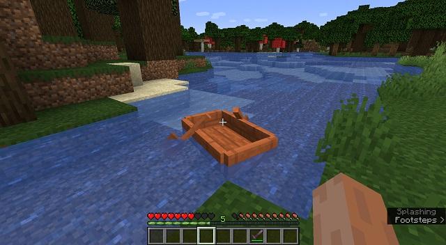 Placing Boat in Minecraft - build boat minecraft