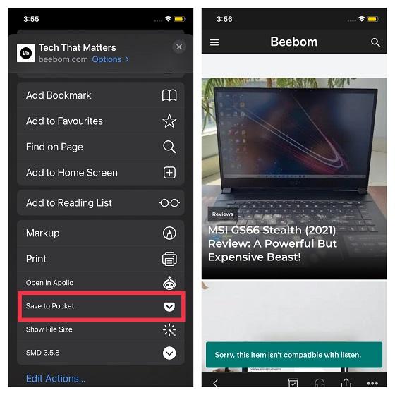 Pocket extension for Safari