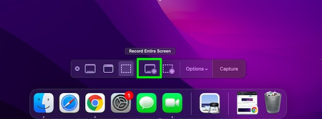 Record entire screen button in QuickTIme Player
