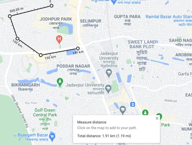 Measure Distance on Google Maps on the Web