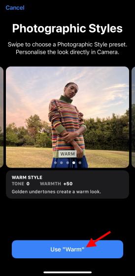 Utiliser des styles photographiques de style chaleureux iphone - iphone 13 styles photographiques