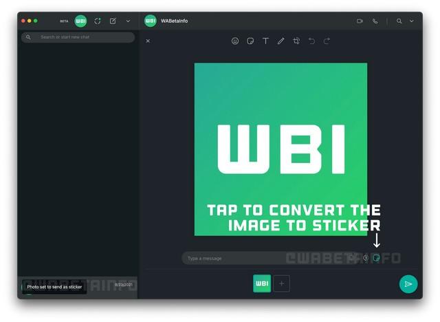 WhatsApp pronto le permitirá enviar una imagen como una pegatina a través de su cliente de escritorio