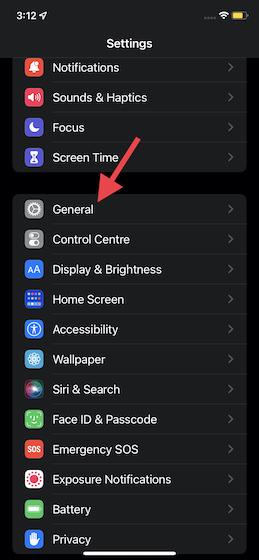 choose General in iOS 15 settings