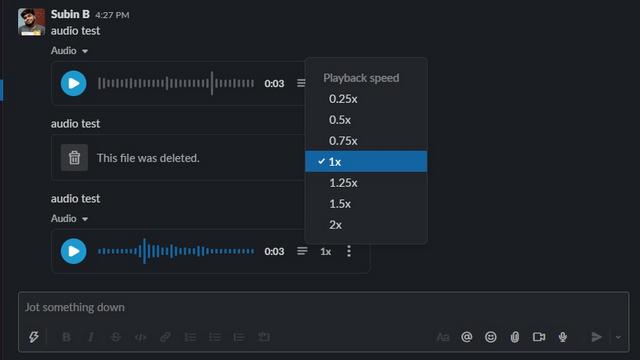 contrôler la vitesse de lecture slack audio msg