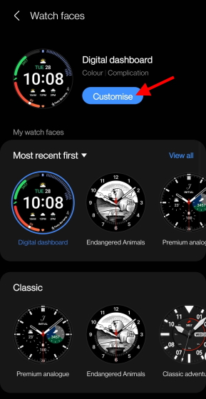 galaxy watch 4 customize button