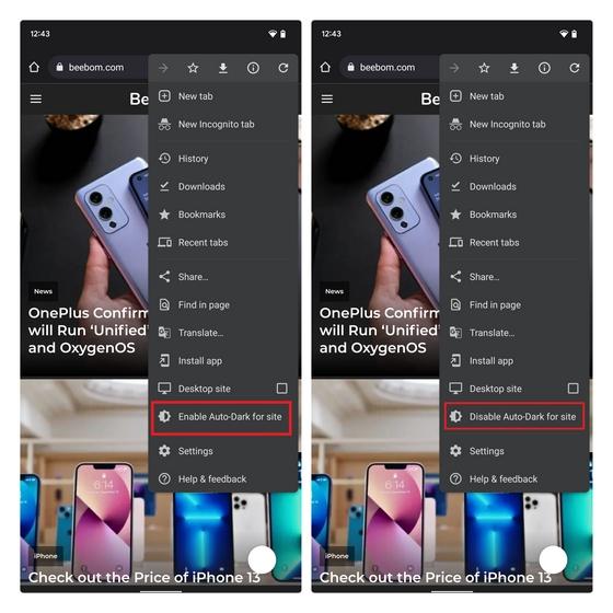 activer ou désactiver l'obscurité automatique de Google Chrome pour le site
