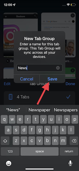 give your tab group a suitable name