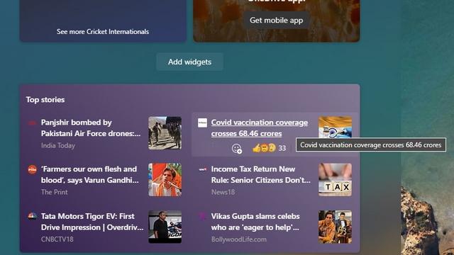 link from windows 11 widget