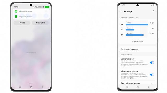 one ui 4 beta privacy dashboard and indicators