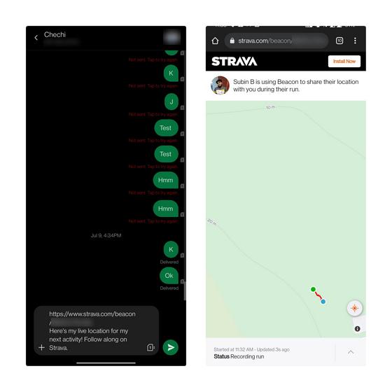 Live-Sharing-Link öffnen - Live-Standort teilen Strava