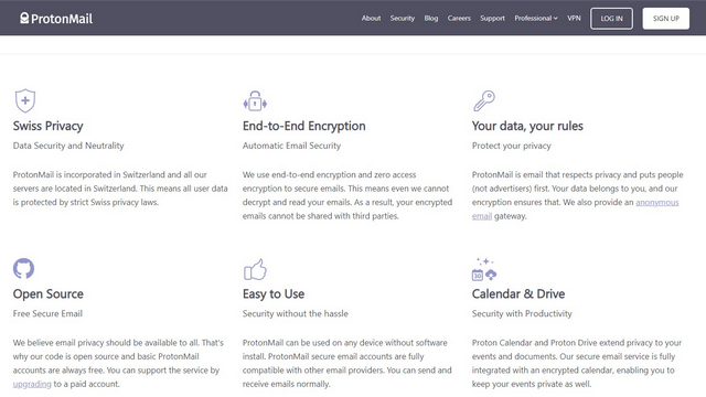 protonmail new home page