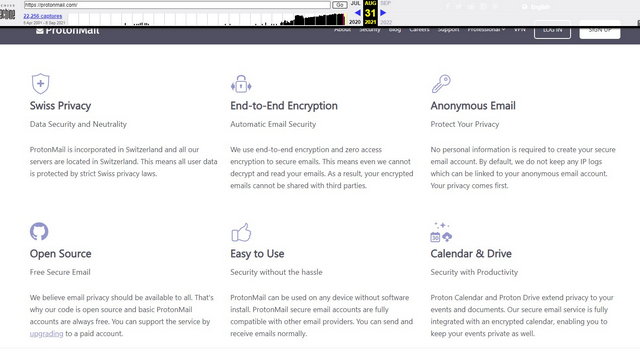 protonmail old home page