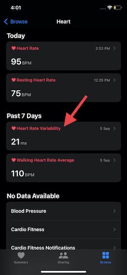 sélectionnez Variabilité de la fréquence cardiaque