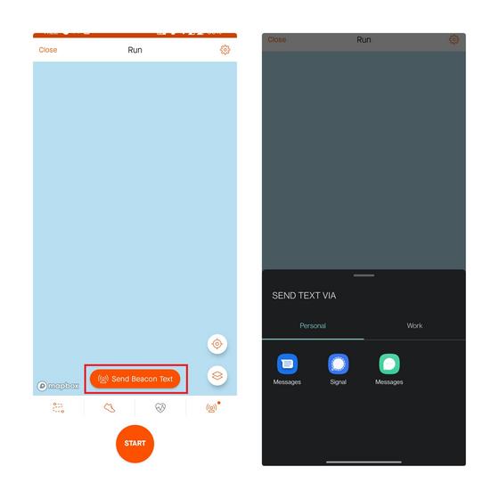 Beacon-Text senden