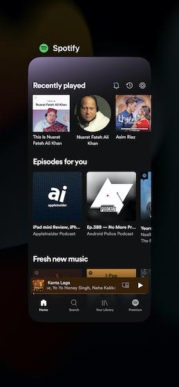Forcer à quitter Spotify sur iPhone