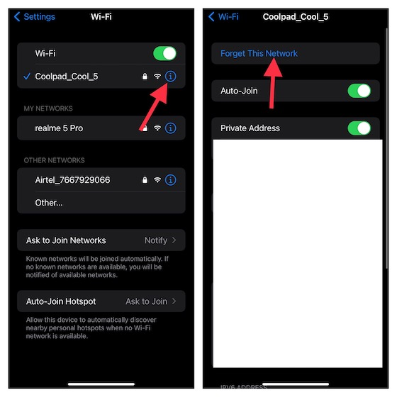 Forget the Wi-Fi network on iPhone and iPad