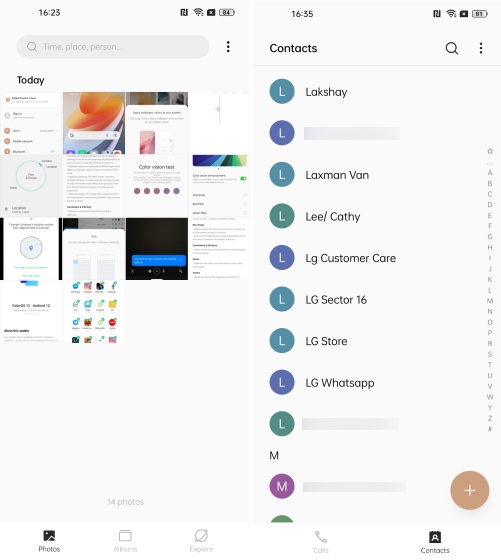 Gallery and contacts coloros 12