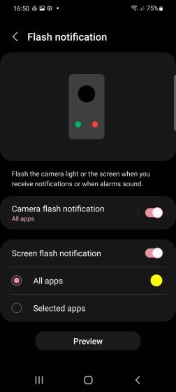 screen flash notification