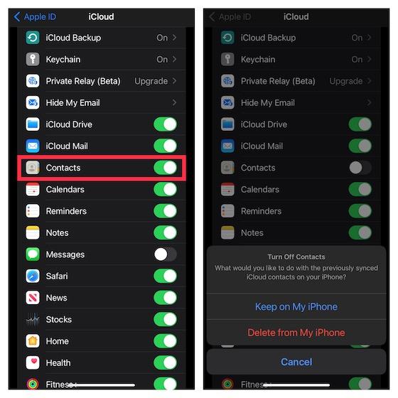 Activer/désactiver les contacts iCloud sur iOS 15
