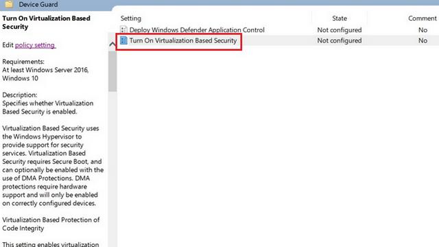 Virtualisierungsbasierte Sicherheit aktivieren