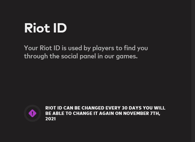Riot ID change notification - change Valorant display name and tagline