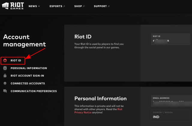 change Valorant display name and tagline - Riot ID settings page