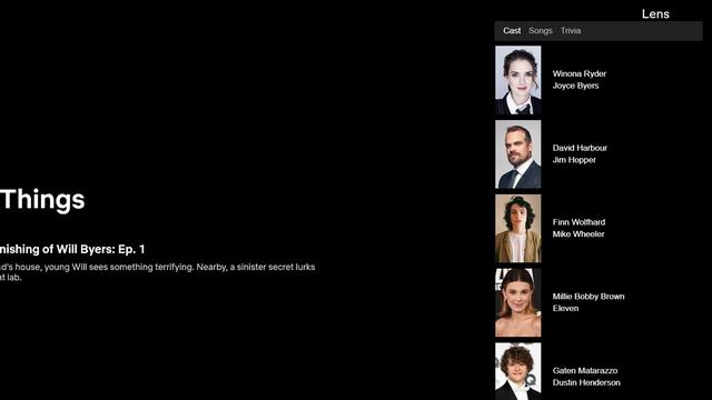 vista del cast dell'obiettivo cinematografico