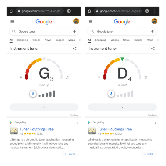google tuner arayüzü