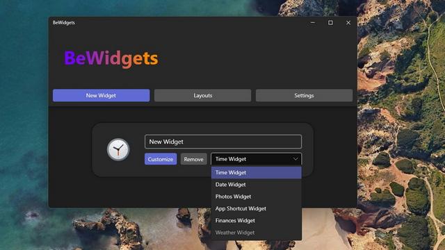 escolha o tipo de widget