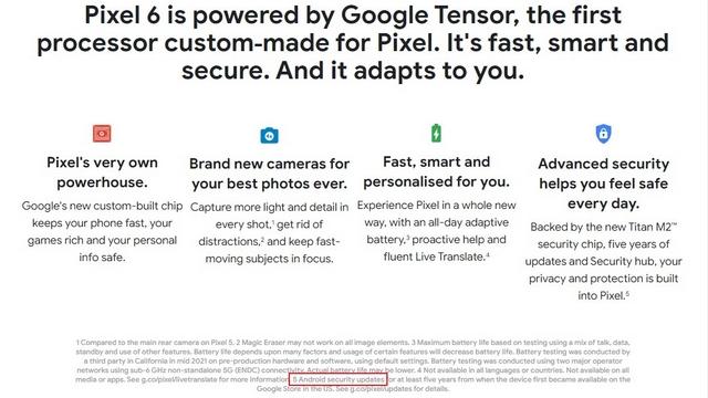 pixel 6 5 anni di aggiornamenti di sicurezza
