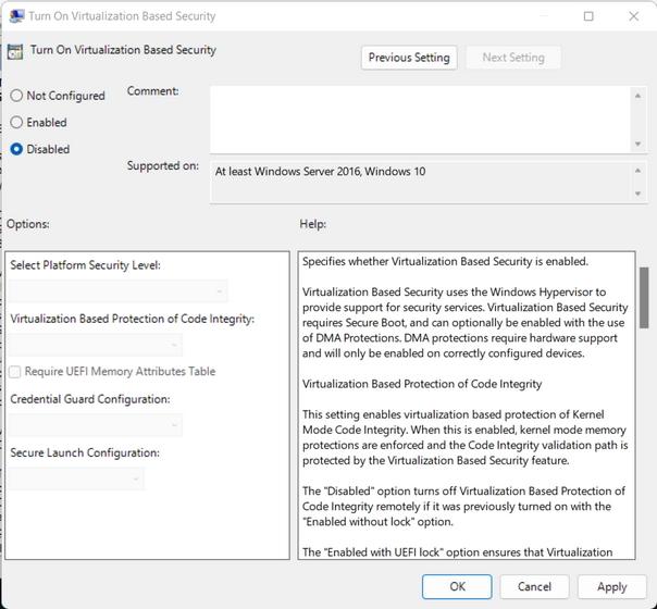 Setzen Sie Virtualisierungsbasierte Sicherheit aktivieren auf deaktiviert, um VBS Windows 11 zu deaktivieren
